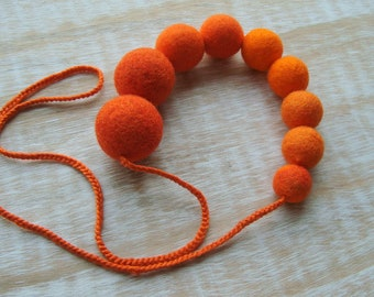 Orange Statement Necklace, Felt Necklace, Felted Balls, Wool Jewelry, Orange Necklace, Eco Jewelry, Textile Jewelry