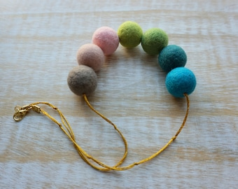 Sweet Candy Statement Necklace, Wool Jewelry, Felt Balls, Felted Balls, Eco Friendly, Handmade Necklace
