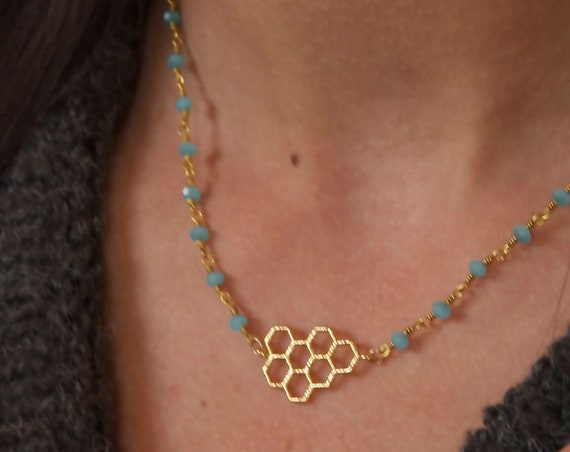 Honey Comb Necklace | Honeycomb Necklace | Honey Bee Necklace | Hexagon Necklace | Bee Necklace | Honey Comb pendant | Beekeeper Necklace