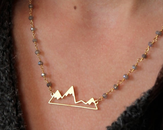 Mountain Necklace Gold | Mountains Necklace | Gold Mountain | Simple Mountain | Mountain Pendant | Wanderlust Necklace | Gold Mountains