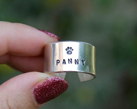 Dog Paw Ring | Custom Dog Ring | Pet Name Ring | Cat Ring | Paw Print Ring | Big Ring | Dog Remembrance | Custom Pet Jewelry | Dog Name Gift