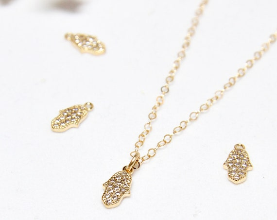 Tiny Hamsa Necklace | Delicate Hamsa | Tiny Hamsa | Small Hamsa Necklace | Small Hamsa Charm | Gold Hamsa Necklace |  Gold Hamsa | CZ Hamsa