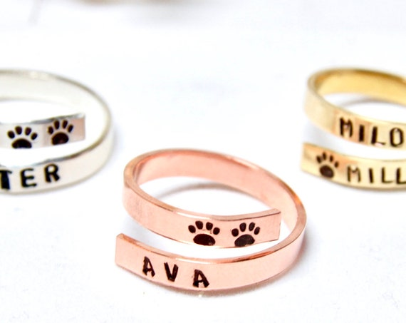 Dog Name Jewelry | Dog Loss Gift Idea | Dog Lover Gift | Custom Dog Mom | Pet Name | Dog Paw Ring | Engraved Dog Name | Custom Pet Name