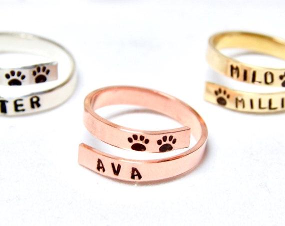 Custom Pet Jewelry | Dog Paw Ring | Custom Dog Ring | Pet Name Ring | Cat Ring | Wraparound Ring | Dog Remembrance | Personalized Pet