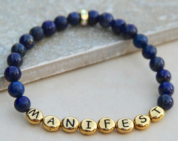 Manifest Bracelet | Mindfulness Gift | Mindfulness Gifts | Law of Attraction | Gift for Yogi | Spiritual Jewelry | Gemstone Bracelet | Yoga