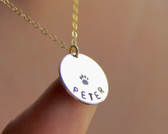 14k Gold Paw Print Necklace | Dog Necklace Personalized | Pet Loss Necklace | Dog Loss Necklace | Cat Loss | Pet Sympathy | Loss of Pet