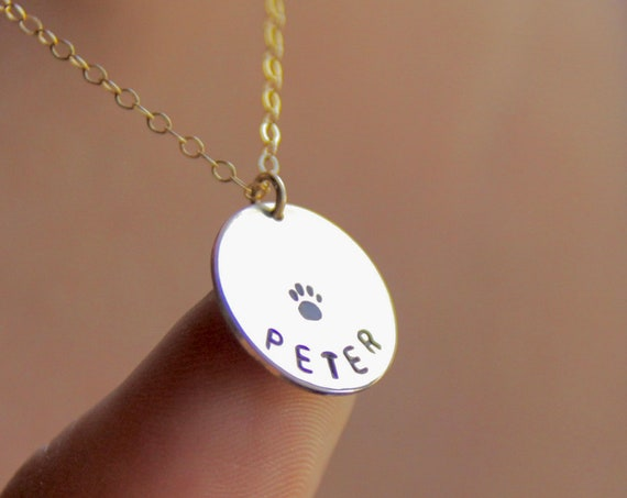 Dog Name Jewelry | Custom Pet Necklace | Custom Paw Print Necklace | Paw Print Jewelry | Loss of Dog | Gold Coin | Sterling | Cat | Cat loss