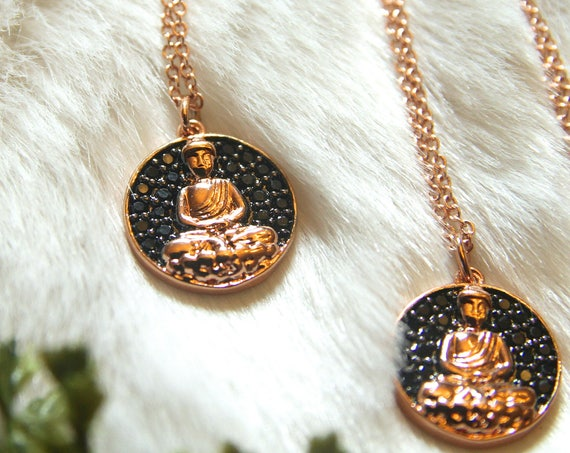 Buddha necklace |  Buddhist necklace | Om Necklace | Zen Gift for her | Buddha Zen Yoga |  Small Buddha | Buddha Head | Small Buddha Charm