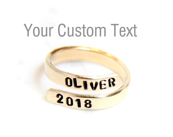 Personalized Ring For Women | Custom Name Ring | Baby Name Ring | Personalized Letter Ring | Custom Initials Ring | Wraparound Ring