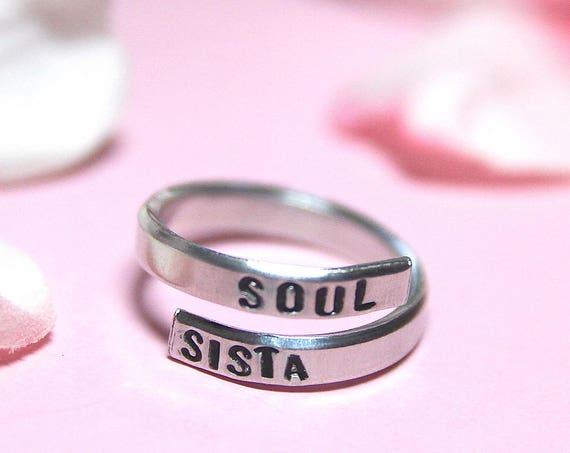 Soul Sista Ring | Soul Sister | Bestfriend | Long Distance Friend | Besties | Soul Sista | Unbiological sister | Sister in law | Bestie