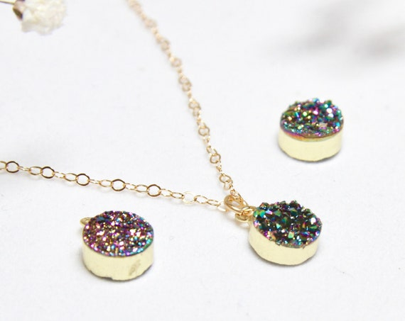 Tiny Druzy Necklace | Round Druzy Necklace | Druze Necklace | Dainty Druzy | Tiny Dot Necklace | Bridesmaid Druzy | Titanium Druzy | Rainbow