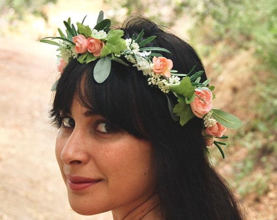 Peony Flower Crown | Light Pink Flower Crown | Green Wedding Crown | Eucalyptus flower crown |  Woodland Crown | Babys Breath Flower Crown
