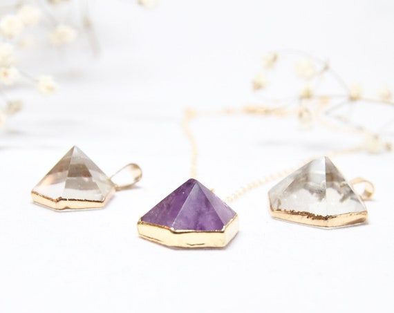 Quartz Pyramid Necklace | Gold Dipped Amethyst | Hexagon Necklace | Prism Necklace | Gold Dipped Quartz | Amethyst Point |  Quartz Point