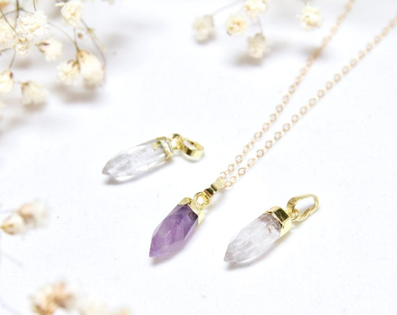 Gold Dipped Quartz | Gold Dipped Amethyst | Amethyst Point | Quartz Point | Small Crystal Point | Small Quartz Point |  Gold Dipped Crystal