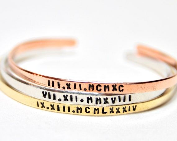 Stacking Bracelet | Roman Numerals | Coordinates | GPS | Cuff Band | Mantra | Engraved Text | Customizable Cuff Bracelet | Medic Alert Cuff