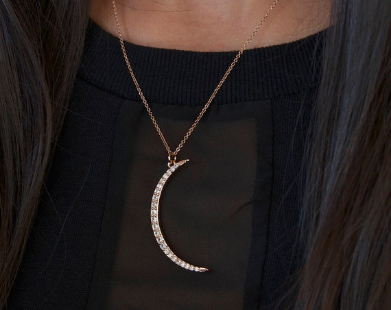 Rose Gold Moon necklace | Long Moon Necklace | Half Moon Necklace | Tiny Moon Necklace | celestial necklace | Simple Moon Necklace | CZ Moon