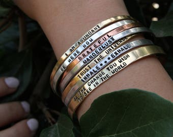 Personalized Bracelet for Women | Custom Bracelet | Coordinate Bracelet | Skinny Cuff Bangle | Wedding date Bracelet | Medic Alert Bracelet