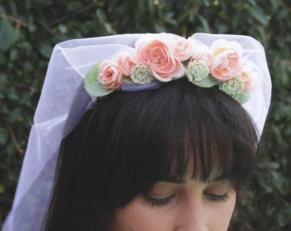 Flower Crown Veil | Bohemian Veil | Bachelorette veil | Floral Crown Veil | Flower Girl Veil | Boho Wedding Veil | Flower Pink Veil |
