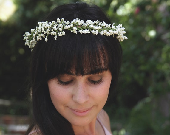 Babys Breath Crown | Babys Breath Flower crown| Simple White Flower Crown | Green Wedding Crown | Woodland Crown | Bridesmaid Flower Crown
