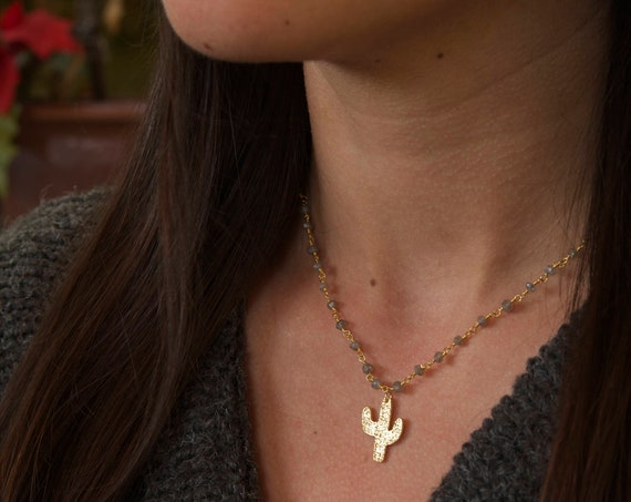 Cactus necklace | Cacti Necklace | Cactus Jewelry | Cactus Charm | Cute Cactus | Saguaro Cactus | Gold Cactus Necklace | Dainty Cactus