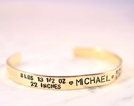 Baby Name Bracelet | New Mom Bracelet | Birthdate Jewelry | First Time Mom Gift | Baby Birth Stats | Birth Weight | Birth Announcement
