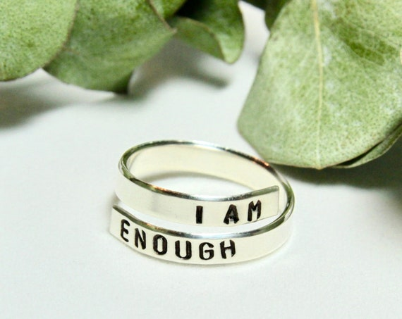I am Enough Ring | I am Enough Jewelry | I am worthy | I am Enough Gift | Motivational Ring | Inspirational Ring | Body Positive Gift