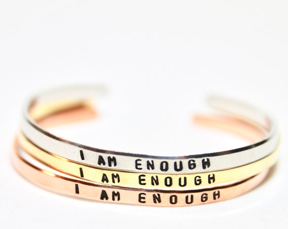 I am Enough | I am Enough Bracelet | I am Enough Jewelry |  I am Enough Gift | Motivational Cuff | Mantra Bracelet | Body Positive Gift