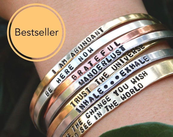 Your Own Text, Customized Cuff, Custom Bracelet, Inspirational Gift, Engraved Cuff, Personalize Bracelet, Custom Name Jewelry, Skinny Bangle