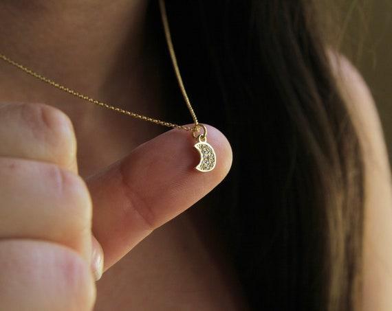 Tiny Moon Necklace | Tiny Crescent Moon | Mini Moon Necklace | Little Moon Necklace | cz moon necklace | Moon of my life | Simple Moon