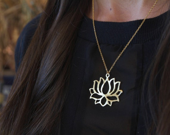 Lotus Flower Necklace | Gold Lotus | Lotus Necklace | Lotus Flower | Lotus Charm | Blooming Lotus | Gold Lotus Necklace | Lotus Choker