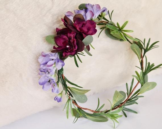 Green Flower Crown Lavender Flower Crown Eucalyptus Flower Crown