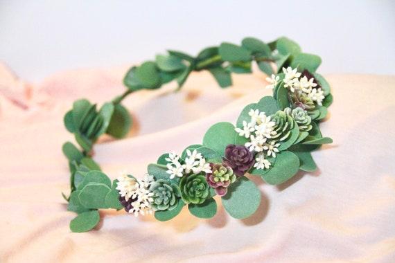 Eucalyptus Green wedding Crown. Green Flower Crown. Succulent flower crown. Greenery Crown. Flower Crown. Sage eucalyptus flower.