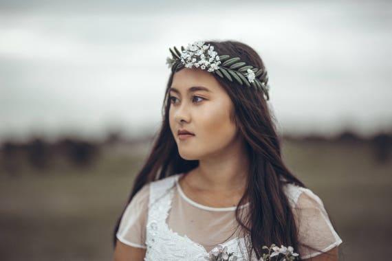 Fern Flower Crown. Green Flower Crown. Greenery Flower Crown. Green Bridal Crown. Green wedding crown. Bridal hair accessories.