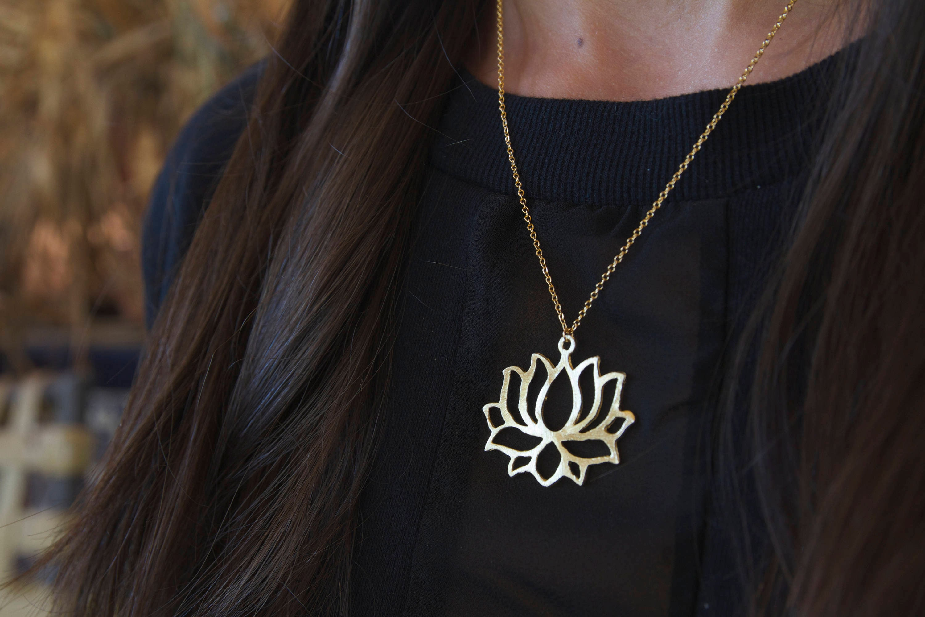 Lotus Flower Necklace Gold Lotus Lotus Necklace Lotus Flower
