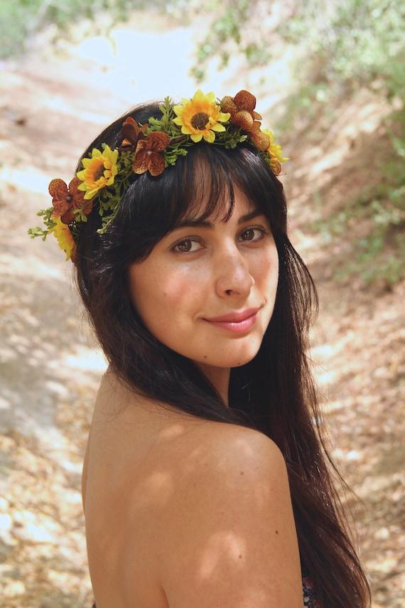 Sunflower Wedding   Yellow Flower Crown   Sunflower Headpiece   Sunflower halo   Fall Flower Crown   Daisy Crown   Sunflower Bridesmaid