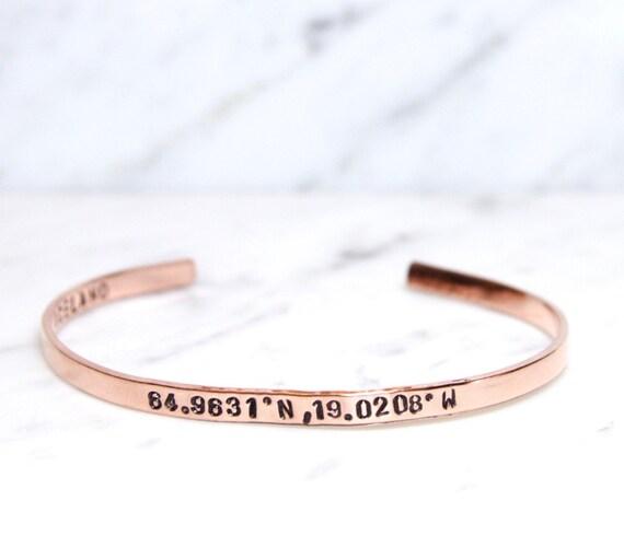 Coordinates Jewelry | Coordinate Bracelet | Longitude Latitude Bracelet | GPS Coordinate Bracelet | Skinny Cuff Bangle | World Traveler Gift