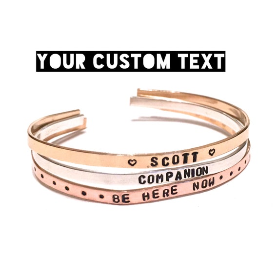 Custom Cuff Bracelet |  Quote bracelet | Personalized bracelet | Thin Cuff Bracelet | Name Bracelet | Personalized Engraved Cuff bracelet