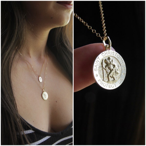 Saint Christopher Necklace | st Christopher | Gold Coin Necklace | Protection Necklace | Catholic Necklace | Dainty Coin Necklace |