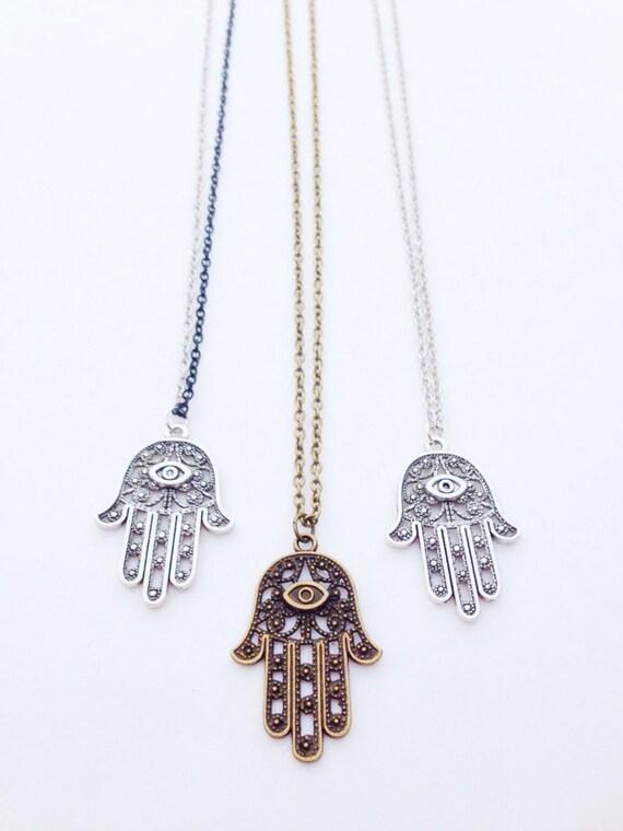 Hamsa Necklace | Hamsa Hand Necklace | Hamsa Hand Gift | Silver Hamsa | Hamsa Gift | Fatima Necklace | Hand Of Fatima
