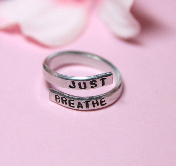 Just Breathe Ring | Inhale Exhale Ring | Inspirational Ring | Anxiety Ring | Just Breathe Jewelry | Wrap Around Ring | Breathe jewelry