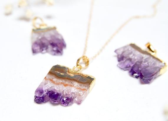 Gold Dipped Amethyst | Amethyst Raw Pendant | Amethyst Slice |  Raw Amethyst necklace | Crystal necklace | February Birthstone