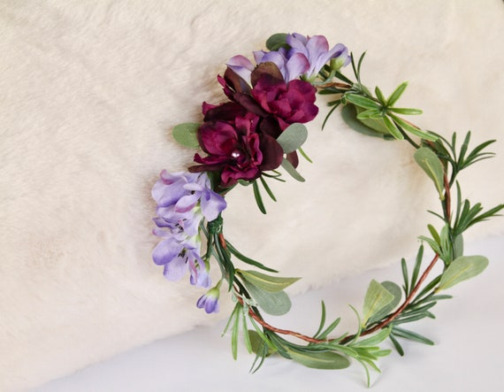Green Flower Crown    Lavender Flower Crown   Eucalyptus flower crown   Purple Flower crown   Bridesmaid Flower crown   Woodland Crown