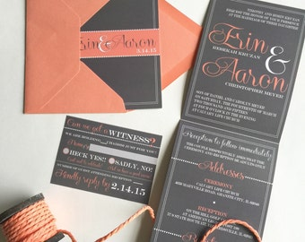 All-N-One wedding Invitation   Coral Script   Tri-fold with attached RSVP   Deposit to get started