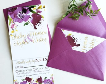 Purple floral   All-N-One wedding Invitation   Tri-fold with attached RSVP   Deposit to get started