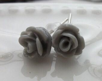 Mini Grey Rose Earrings