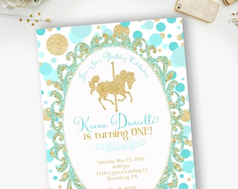 Carousel Blue Gold Birthday Invitation, Gold Glitter Carousel, Round and Round- 0075