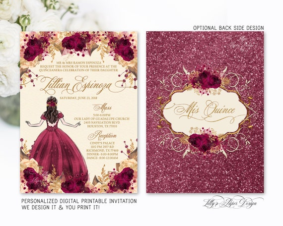 Burgundy And Gold Quinceanera Invitation Quince Sweet Fifteen Mis