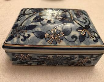 Vintage Floral Handpainted Porcelain Trinket Box in Blue and Gold