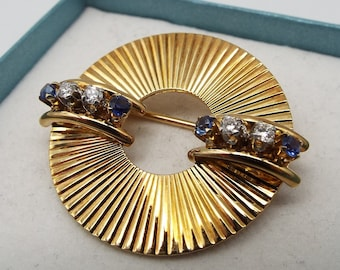 f7939be932c Tiffany and Co 14k Yellow Gold Diamond and Sapphire Brooch Pin