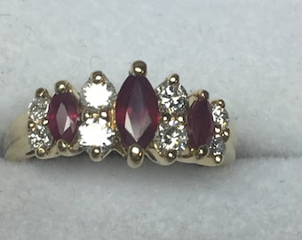 14kt yellow gold diamonds and ruby ladies ring